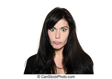woman beautiful portrait confusion silly stupid angry -...