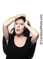 woman beautiful portrait anguish anxious pensive - woman...