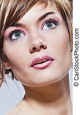 beautiful young woman close-up beauty portrait face -...
