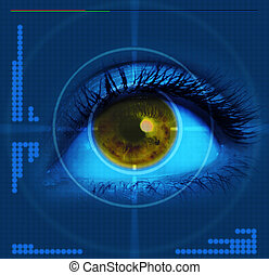 targeted eye - high-tech technology background with targeted...