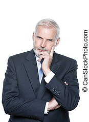 Senior businessman portrait pensive