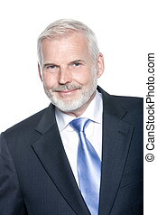 Senior businessman portrait smiling positivity - caucasian...