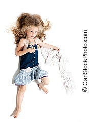 Little girl sullen holding blanket
