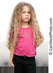 Little girl portrait brat attitude - caucasian little girl...