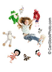 Little girl surrounded by toys
