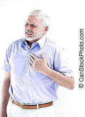 Senior man portrait heart attack - caucasian senior man...