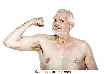 Senior man portrait show muscles