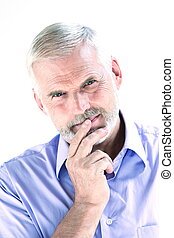 Senior man portrait pensive - caucasian senior man portrait...