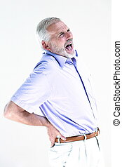 Senior man portrait screaming backache - caucasian senior...