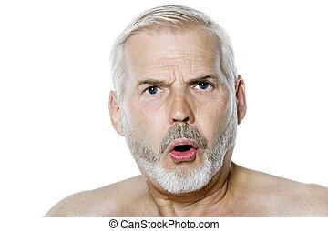 Senior man portrait anger