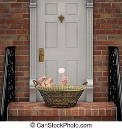 Baby on Doorstep - Baby in a basket on a doorstep