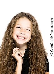 Little girl portrait smiling cheerful toothy smile