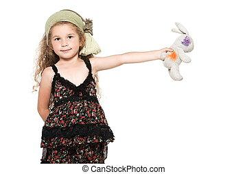 pequeno, brinquedo, mostrando,  cuddly, coelho, menina
