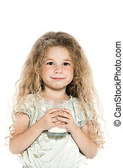 Little girl portrait with milk mustache - caucasian little...