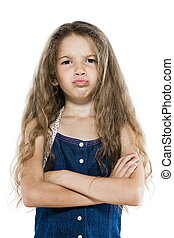 Little girl portrait sulky arms crossed brat attitude -...