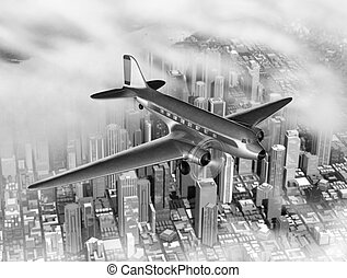 DC-3 Over City - Vintage image of a DC-3 over a generic city...