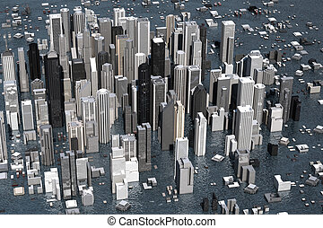 Rising Sea Level - Urban metropolis under water from rising...