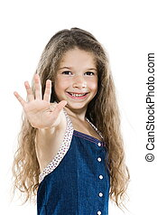 Little girl portrait high-five salute - caucasian little...