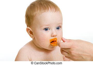 bebê, Menino, branca, alimentação, isolado