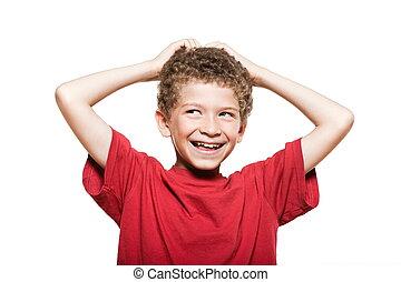 Little boy portrait mischief