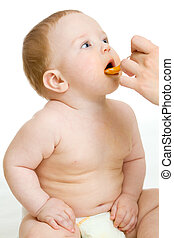 bambino, Ragazzo, bianco, alimentazione, isolato