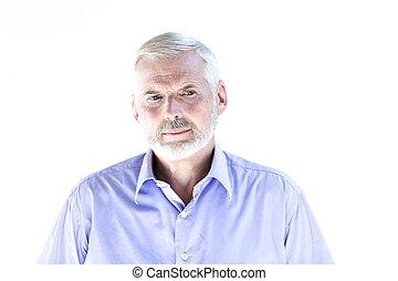 retrato, 3º edad, hosco, ceño, hombre