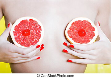 Woman Portrait Naked with Grapefruit breast