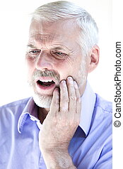 Senior man portrait toothache pain - caucasian senior man...