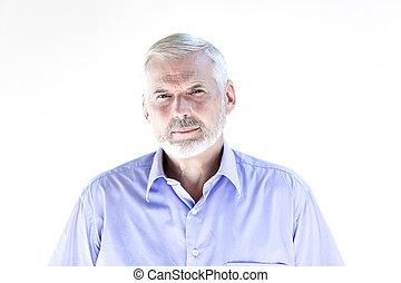 Senior man portrait frown mistrust