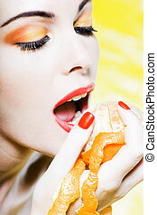 Woman Portrait Eat An orange tangerine fruit