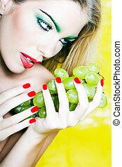 Woman Portrait hold grape
