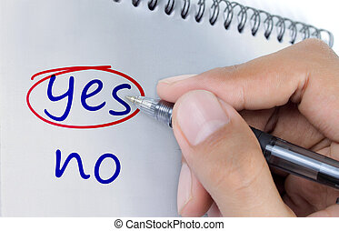yes or no - Hand choosing yes, between yes or no