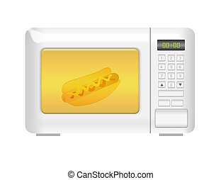 microwave - white microwave with hot dog isolated over white...