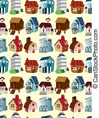 cartoon house seamless pattern