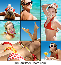 Summer vacation - Collage of happy girl enjoying summer...