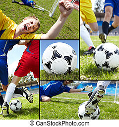 Football - Collage of soccer ball on the field with...