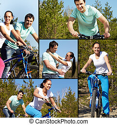Summer activity  - Collage of two young people on bikes