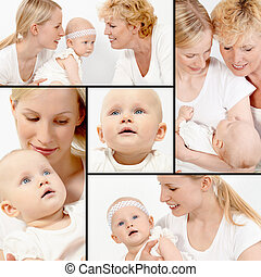 Females - Collage of happy grandmother, mother and cute baby...