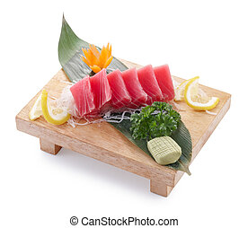maguro sashimi - delicious maguro sashimi isolated on white...