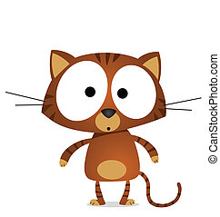 Cartoon tabby cat isolated on white background