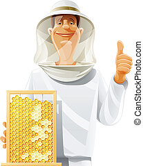 bee-keeper with bee hive vector illustration isolated on...