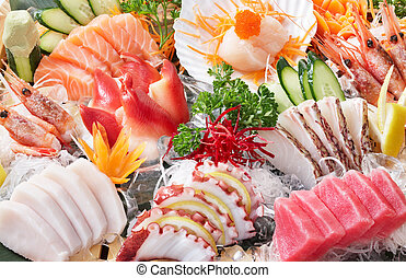 sashimi background - delicious japanese food mixed sashimi...