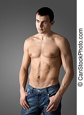 Handsome guy - Image of handsome man with bare torso posing...