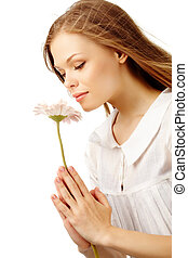 Nice smell - Image of fresh female holding nice herbera and...