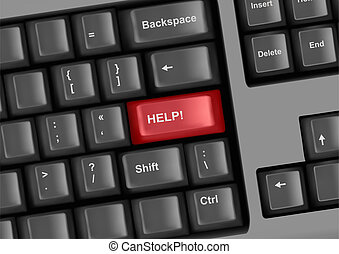 Keyboard with key help. Internet education concept. Vector.