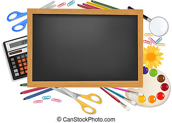 Back to school Black desk with supplies Vector