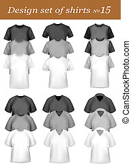 Black and white men polo shirts and t-shirts Photo-realistic...