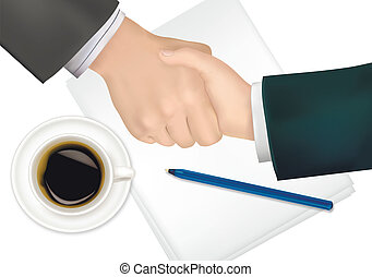 Handshake over paper and pen Photo-realistic vector...