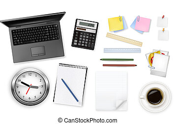 calculator and office supplies - Notebook, calculator and...