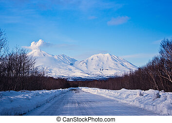 snow road to winter wood on kamchatka